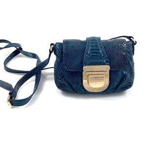 MICHAEL KORS blue snakeskin leather mini purse